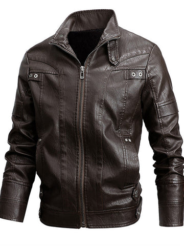 Faux Leather Casual Plain Jackets