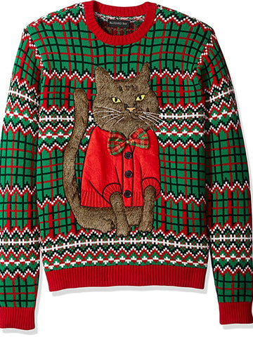 Men's Bow Tie Cat Print Sweater