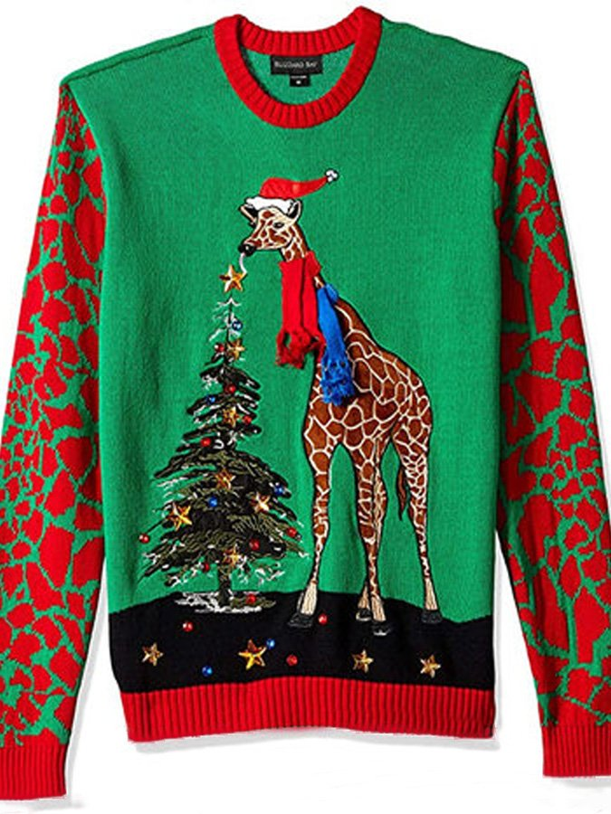 Men's Giraffe Christmas Tree Print Sweater