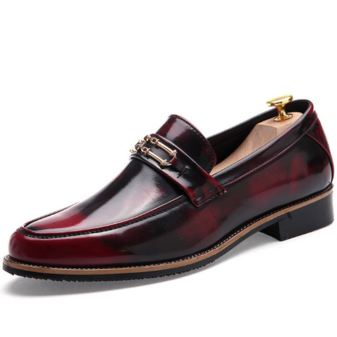 Wine Red Daily Leather Summer Formal Shoes