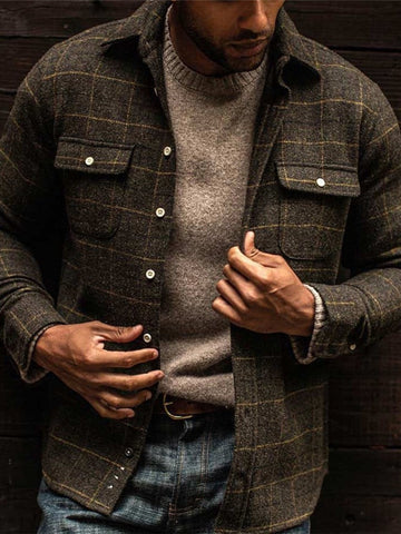 Pockets Cotton-Blend Plaid Outerwear
