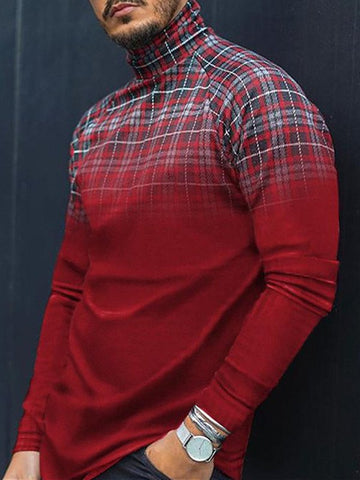 Knitted Turtleneck Casual Plaid Shirts & Tops
