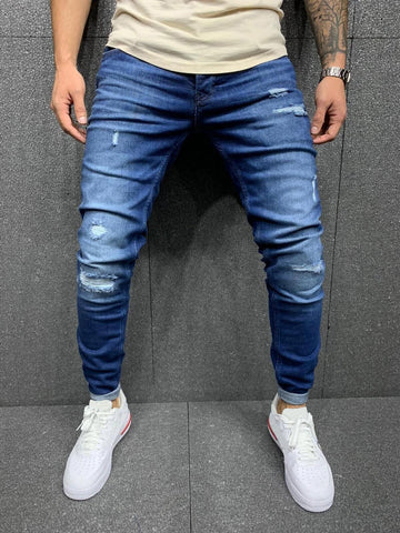 Blue Casual Ripped Jeans