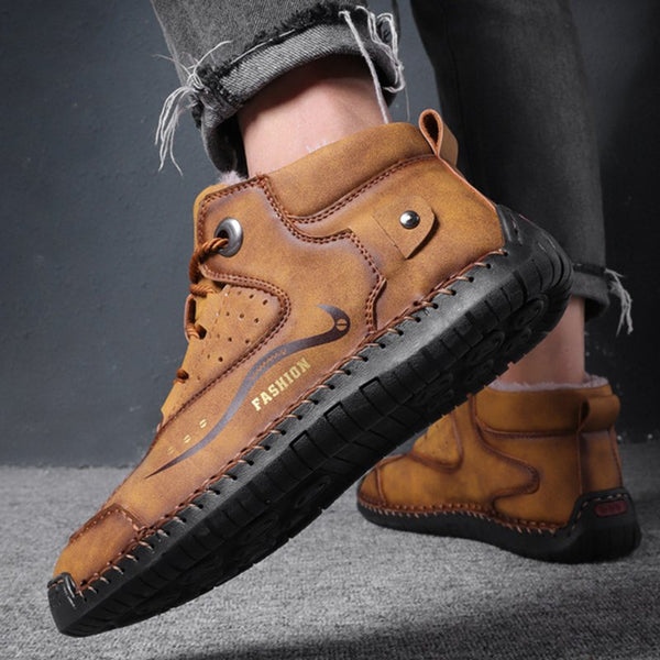 Men Outdoor Fur Lined Warm Leather Daily Lace Up Ankle Boots