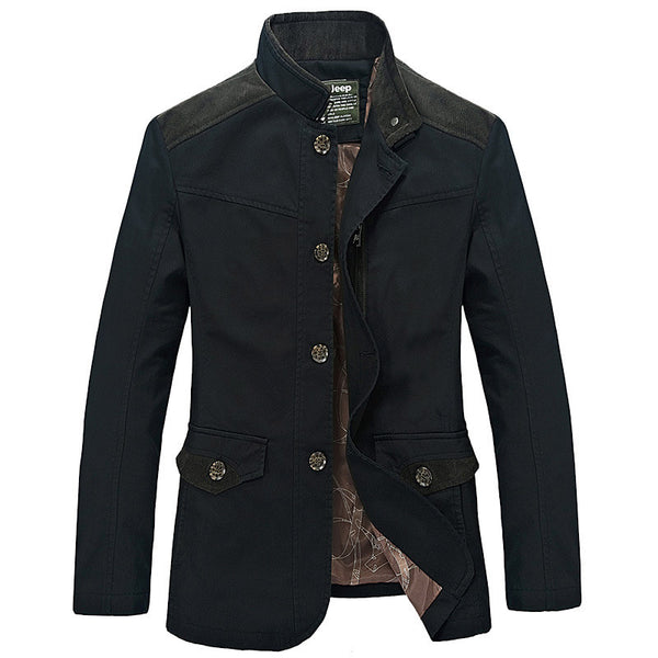 Paneled Pockets Stand Collar Casual Jacket