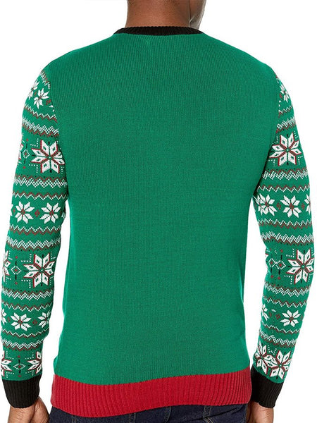 Christmas Green Casual Abstract Crew Neck Sweater
