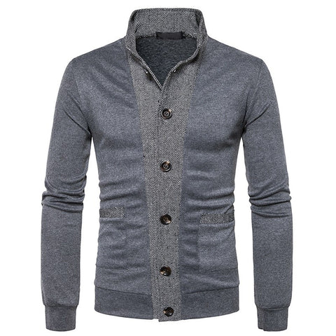Men's Classic Placket Cuffs Color Cardigan Sweater