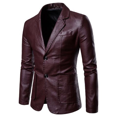 Medium length suit collar leather coat