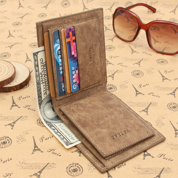 【Free Shipping】Men's PU Leather Bifold Wallet ID Business Credit Card Holder