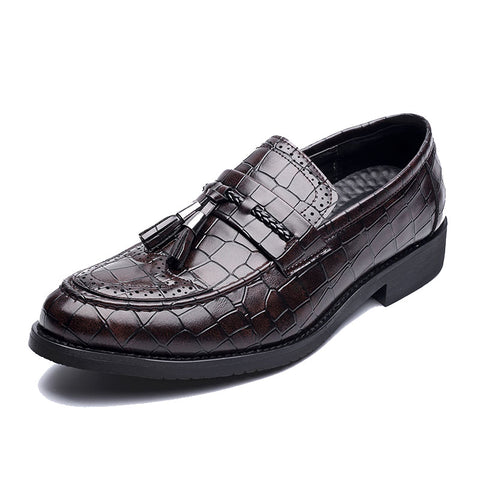 Men Microfiber Leather Non-slip Tassel Decoration Slip On Casual Formal Shoes