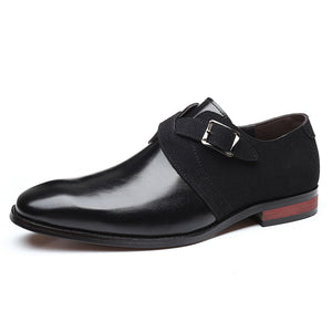 Men Stylish Color Blocking  Slip On Business Formal Dress Shoes