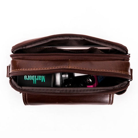 Men Mobile Phone Bag Waist Bag Real Cowhide Wear Belt Cross Section Multi-function Multi-layer Retro Tend Package