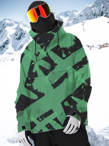 Eye-catching Print High Neck Hooded Ski Top