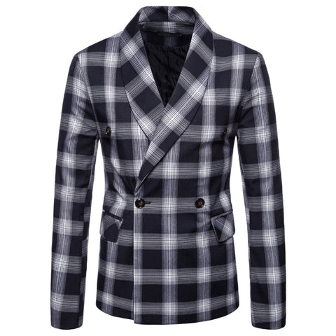 Dark Plaid Men's Gentleman Blazer