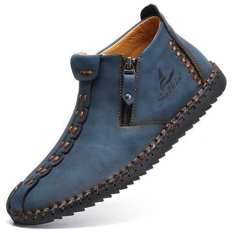 Men Side Zipper Hand Stithcing Soft Comfy Slip On Ankle Boots