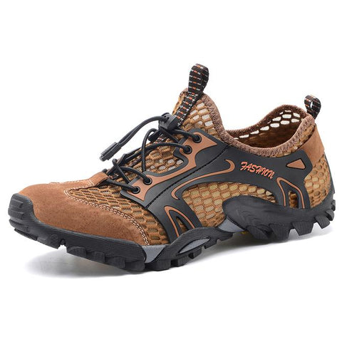 Men Round Toe Mesh Lace Up Outdoor Water Hiking Shoes