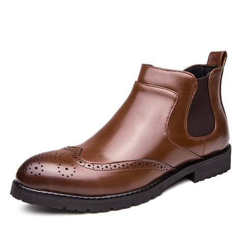 Men Stylish Brogue Carved Slip On Chelsea Ankle Boots