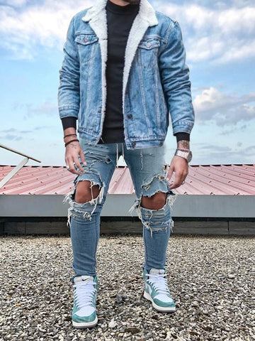 Blue Denim Plain Casual Jackets