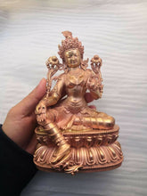 Load image into Gallery viewer, 8'' China Green Tara Buddha Copper Statue