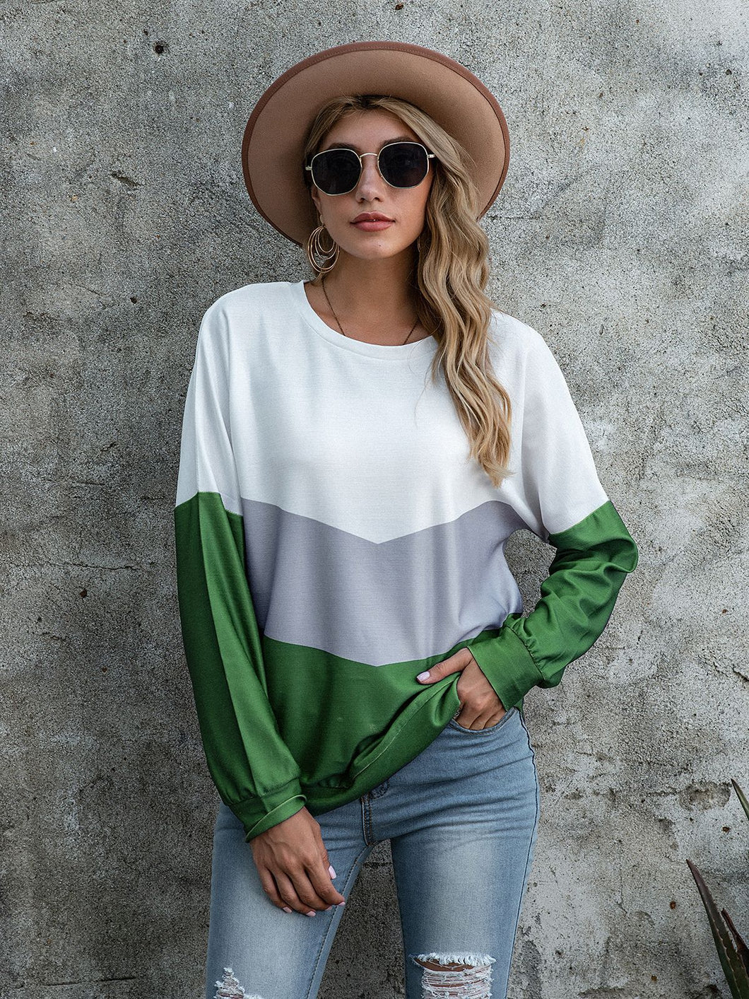 2020 new European and American cross border T-shirt eBay women's popular fashion splicing printing three color women's top long sleeve T-shirt