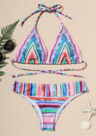 Colorful Striped Splicing Halter Tie Bikini Set without Necklace