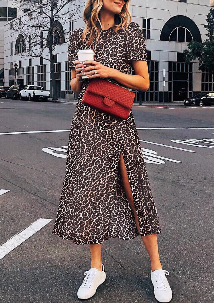 Leopard Slit O-Neck Casual Dress