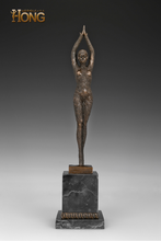 Load image into Gallery viewer, 18'' Art Deco Sculpture Stand Girl Bronze Marble Base Statue