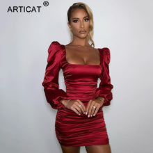 Load image into Gallery viewer, Articat New Satin Puff-Sleeve Ruched Dress For Women Solid Square Collar Sexy Dresses Ladies Streetwear Backless Zip Vestidos