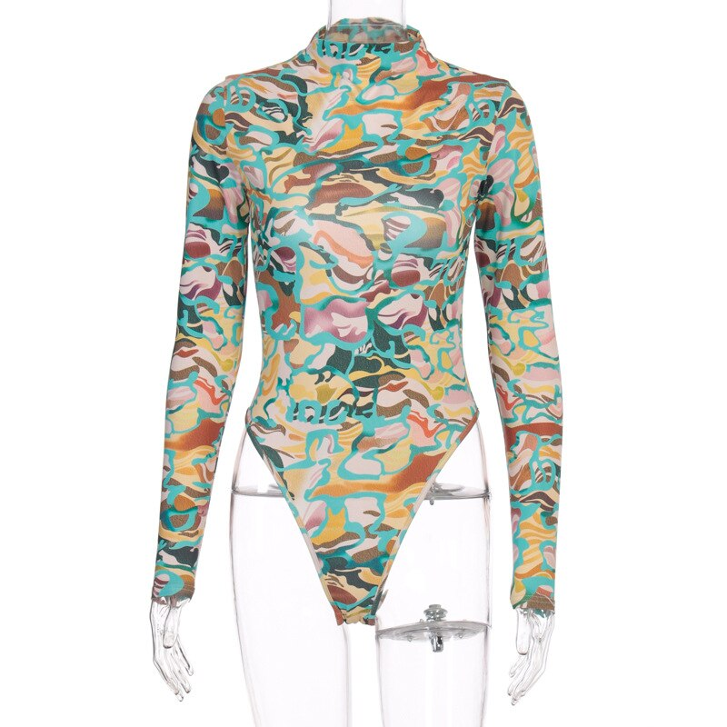 Cryptographic Long Sleeve Print Backless Sexy Bodysuit Women Summer Streetwear Rave Festival Outfit Skinny Body Suits Clubwear