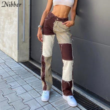 Load image into Gallery viewer, NIBBER Hip-hop punk style High Waist Pants autumn winter street casual wear trousers Contrast patchwork female Tight pencil pant