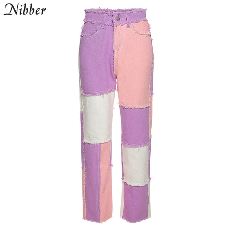 NIBBER Hip-hop punk style High Waist Pants autumn winter street casual wear trousers Contrast patchwork female Tight pencil pant