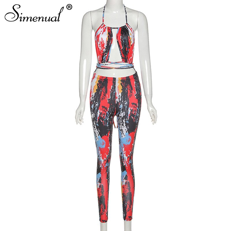 Simenual Backless Bandage Printed Sexy Hot Halter Jumpsuits Women Sleeveless Party Club Outfits Fashion Summer Bodycon Jumpsuit