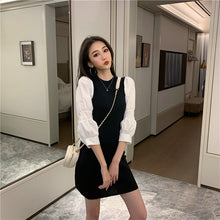 Load image into Gallery viewer, Woherb 2020 Spring Autumn Mini Party Dress Women Puff Sleeve Knit Dresses Korean Elegant Vintage Pencil Robe Vestidos De Festa