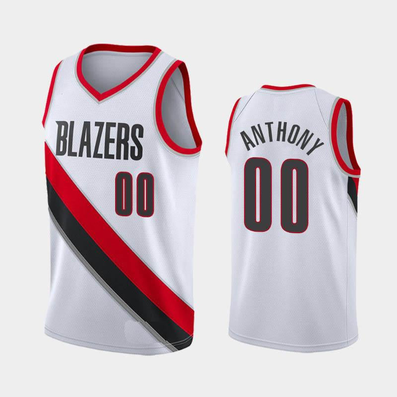 Men's Basketball Jerseys Portland Trail Blazers Jersey Carmelo Anthony White Black Red 2019-20 Statement City Icon