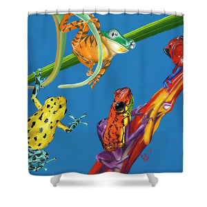 Frog Quartet - Shower Curtain