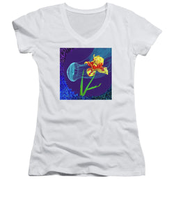Tulip and Jellyfish Embrace  - Women's V-Neck
