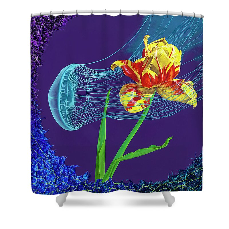 Tulip and Jellyfish Embrace  - Shower Curtain