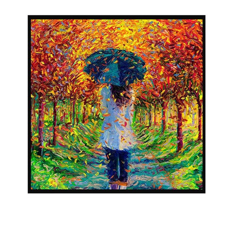 1000 PIECE PUZZLE Girl Strolling Among The Fallen Leaves JIGSAW PUZZLE Best Gifts for Children and Adult
