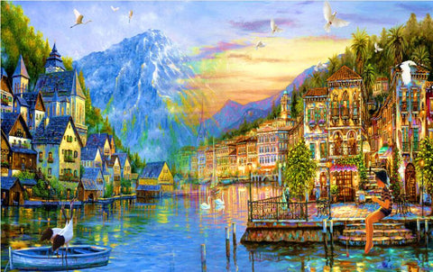 1000 Piece Castle Town Super Beautiful Puzzles Challenging