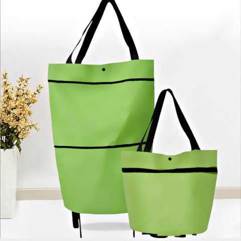 2 In 1 Portable Foldable Shopping Cart Multifunction Telescopic Storage Bag with Wheel