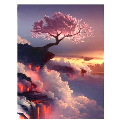 1000 PIECE PUZZLE Pink tree at the cliff wall JIGSAW PUZZLE Best Gifts For Children and Adult