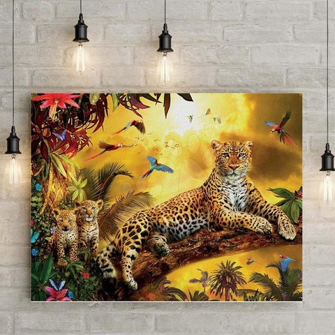 Puzzle  Fantasy Forest Leopard and Cub1000 PIECE PUZZLE Fun Toys Brain Development Toys