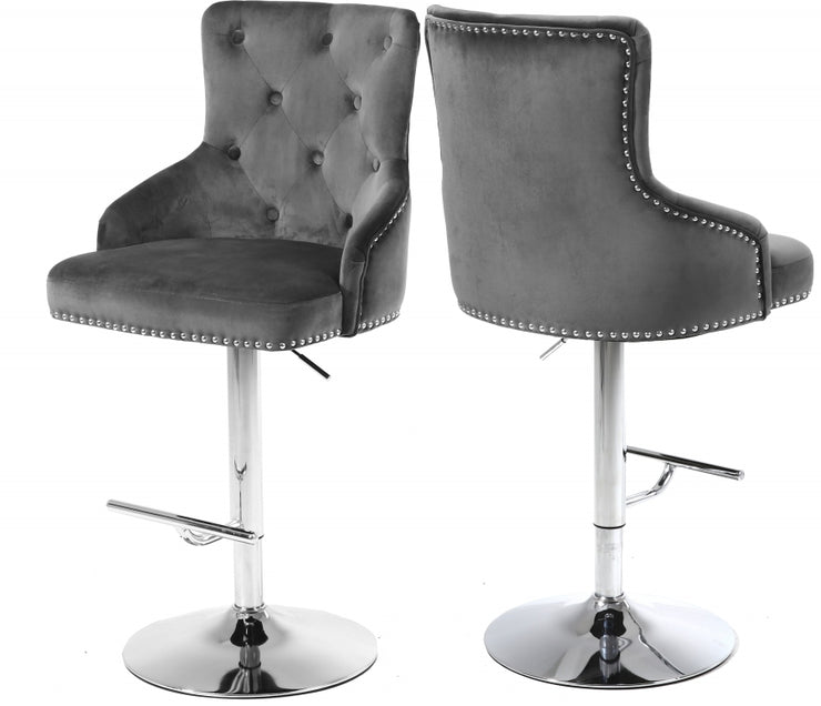 Claude Velvet Adjustable Bar | Counter Stool Set of 2