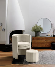 Selena Velvet Accent Chair with Ottoman