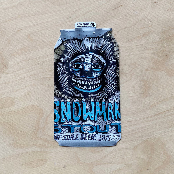 Snowman Stout Can Sticker