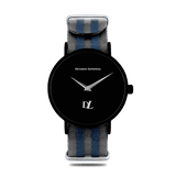 Black quartz watches for men with Creative Silver strap by Deveron Lewendal brand
