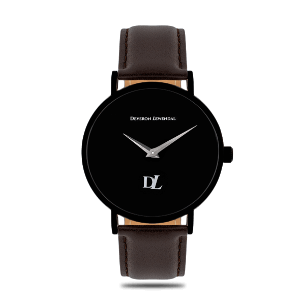 Minimalist black watches 44 mm with genuine leather stap by Deveron Lewendal brand