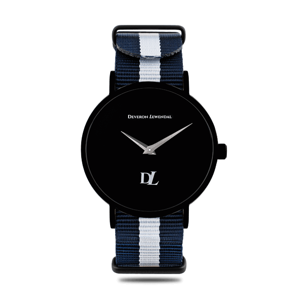 Stylish black quartz watches 44 mm with Nato strap by Deveron Lewendal brand