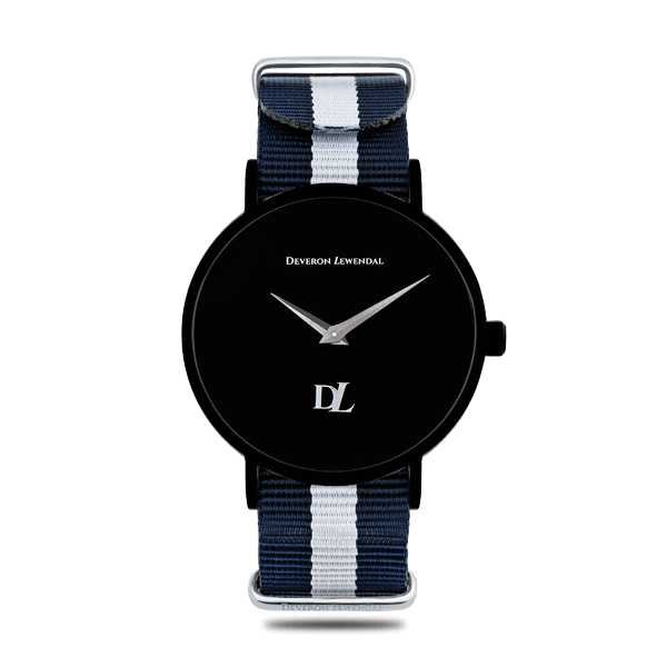 Minimalist and stylish black watches with Nato strap by Deveron Lewendal brand