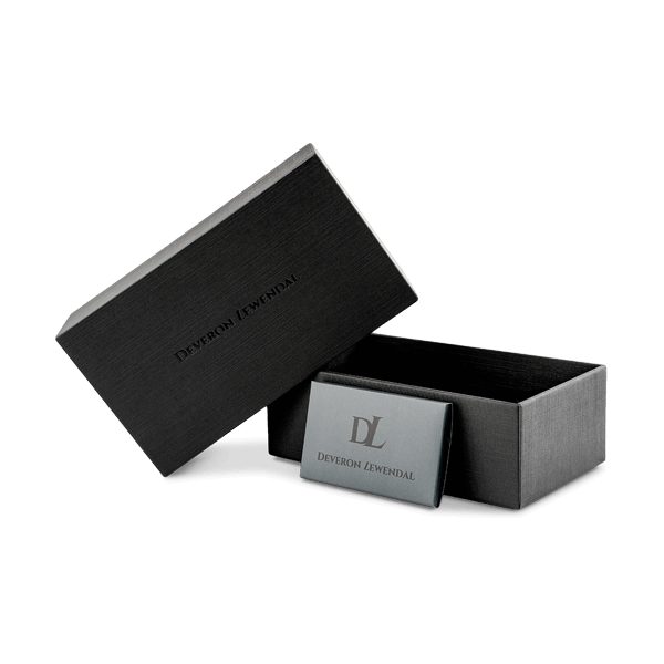 Matte black box for watches  and black manual by Deveron Lewendal brand
